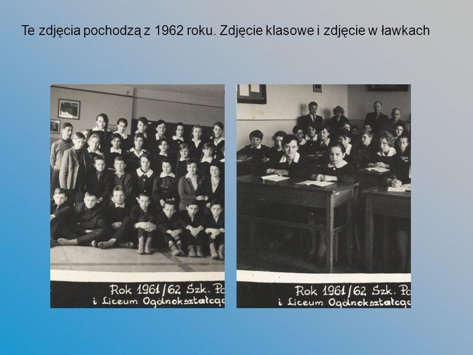 Te zdjęcia pochodzą z 1962 roku. Zdjęcie klasowe i zdjęcie w ławkach