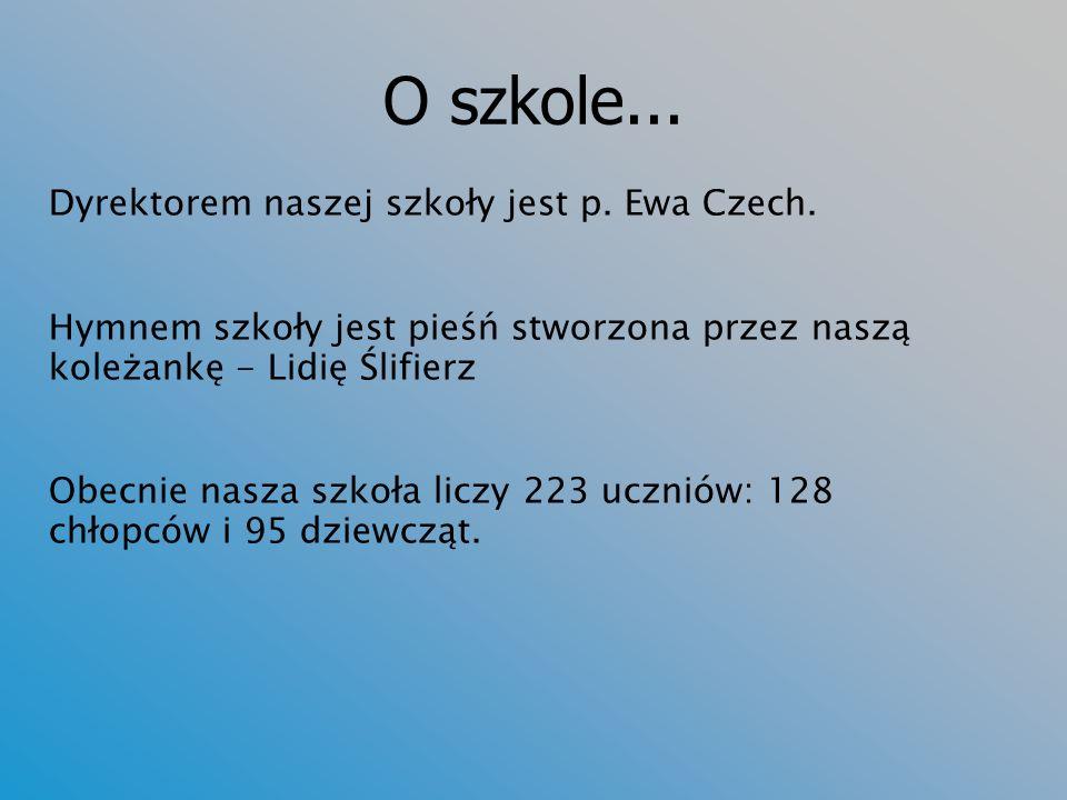 O szkole... Dyrektorem naszej szkoły jest p. Ewa Czech.