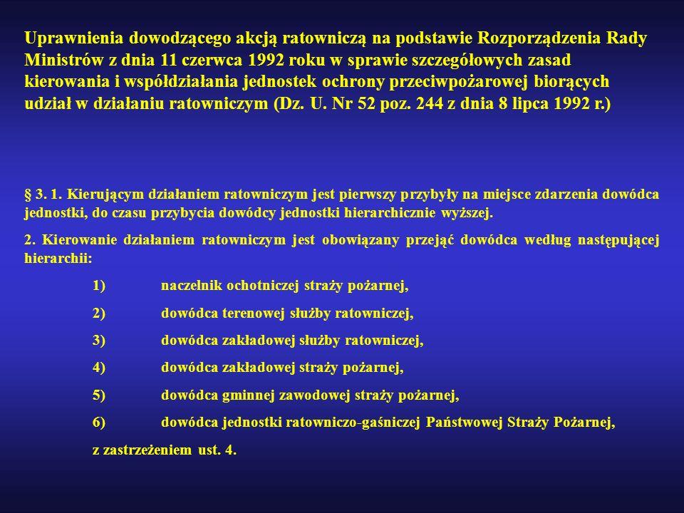 Uprawnienia dowodzącego akcją ratowniczą na podstawie Rozporządzenia Rady Ministrów z dnia 11 czerwca 1992 roku w sprawie szczegółowych zasad kierowania i współdziałania jednostek ochrony przeciwpożarowej biorących udział w działaniu ratowniczym (Dz. U. Nr 52 poz. 244 z dnia 8 lipca 1992 r.)