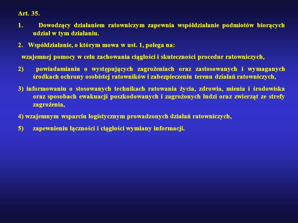 Art. 35. 1. Dowodzący działaniem ratowniczym zapewnia współdziałanie podmiotów biorących udział w tym działaniu.