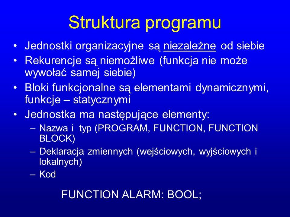 Struktura programu Jednostki organizacyjne są niezależne od siebie
