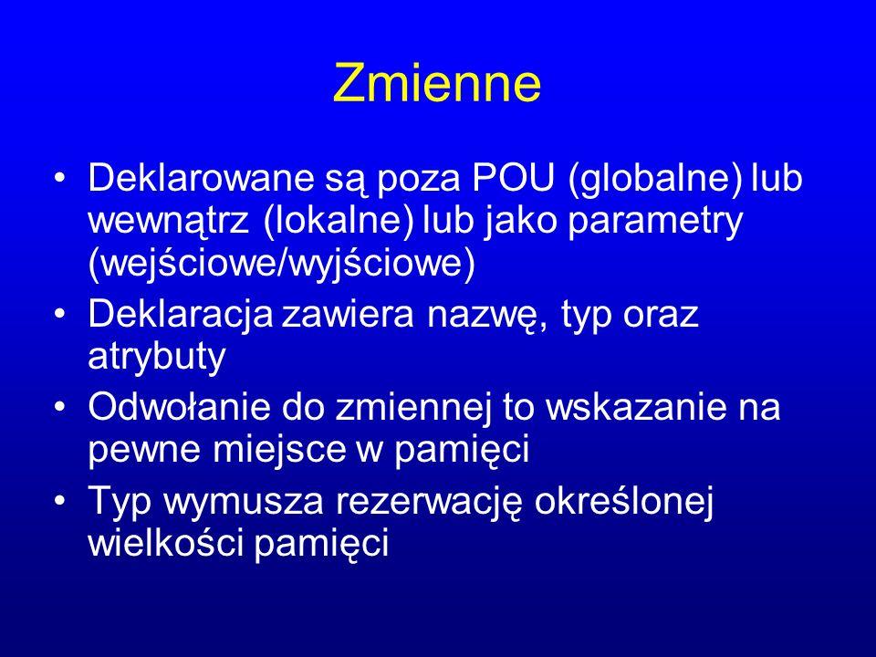 Zmienne Deklarowane są poza POU (globalne) lub wewnątrz (lokalne) lub jako parametry (wejściowe/wyjściowe)