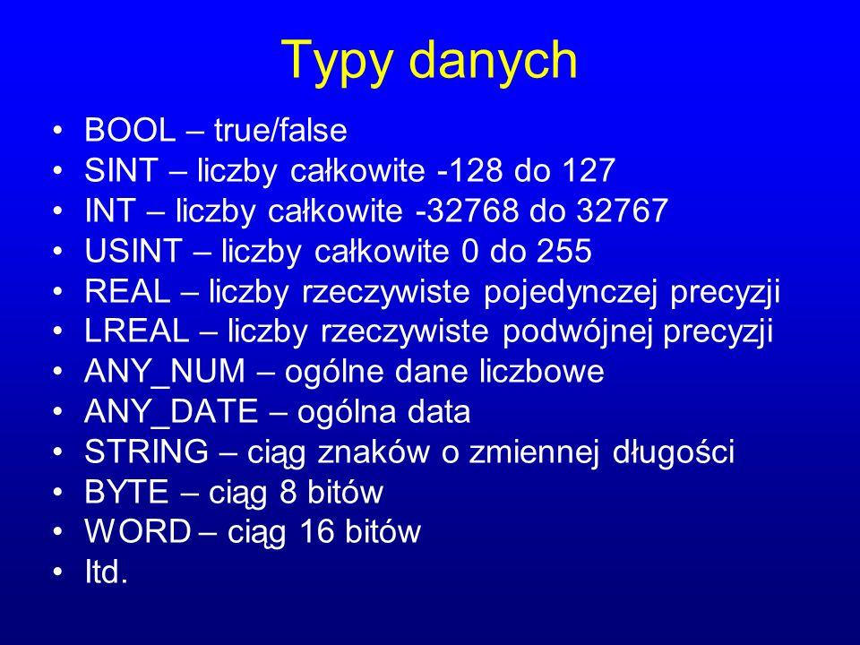 Typy danych BOOL – true/false SINT – liczby całkowite -128 do 127