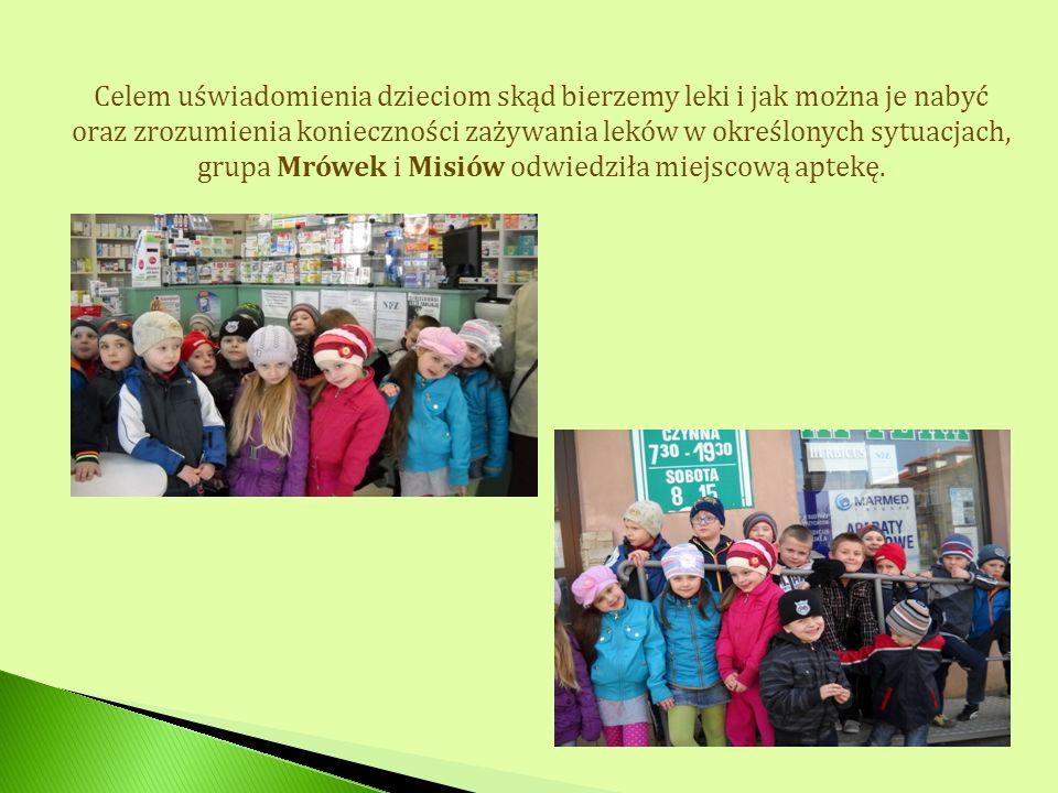 Celem uświadomienia dzieciom skąd bierzemy leki i jak można je nabyć oraz zrozumienia konieczności zażywania leków w określonych sytuacjach, grupa Mrówek i Misiów odwiedziła miejscową aptekę.