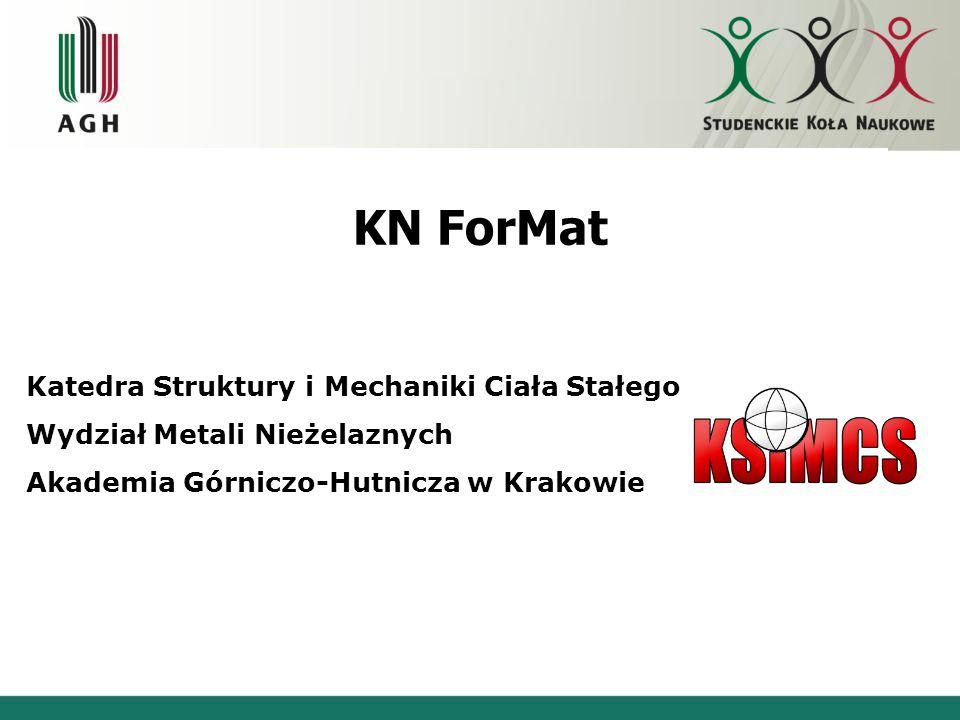 KN ForMat Katedra Struktury i Mechaniki Ciała Stałego