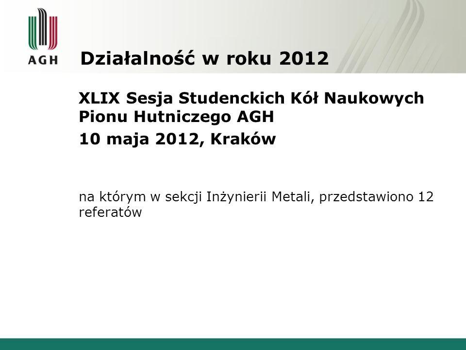 Działalność w roku 2012 XLIX Sesja Studenckich Kół Naukowych Pionu Hutniczego AGH. 10 maja 2012, Kraków.