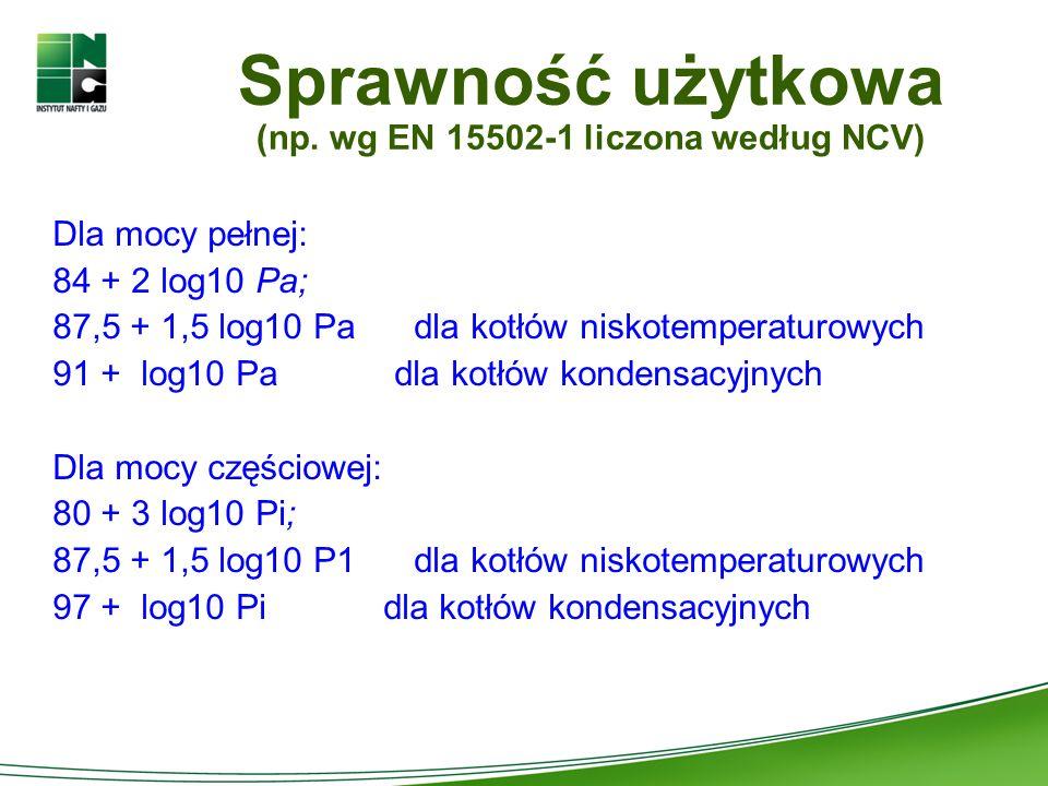 Sprawność użytkowa (np. wg EN 15502-1 liczona według NCV)