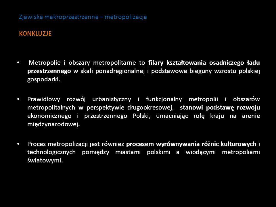Zjawiska makroprzestrzenne – metropolizacja KONKLUZJE
