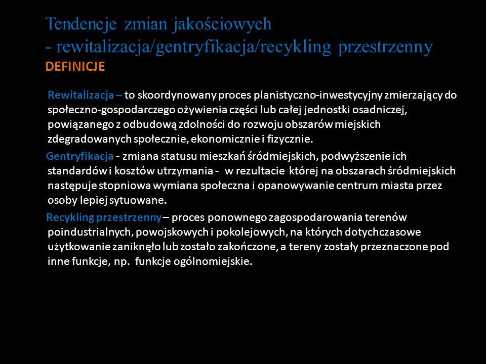 - rewitalizacja/gentryfikacja/recykling przestrzenny
