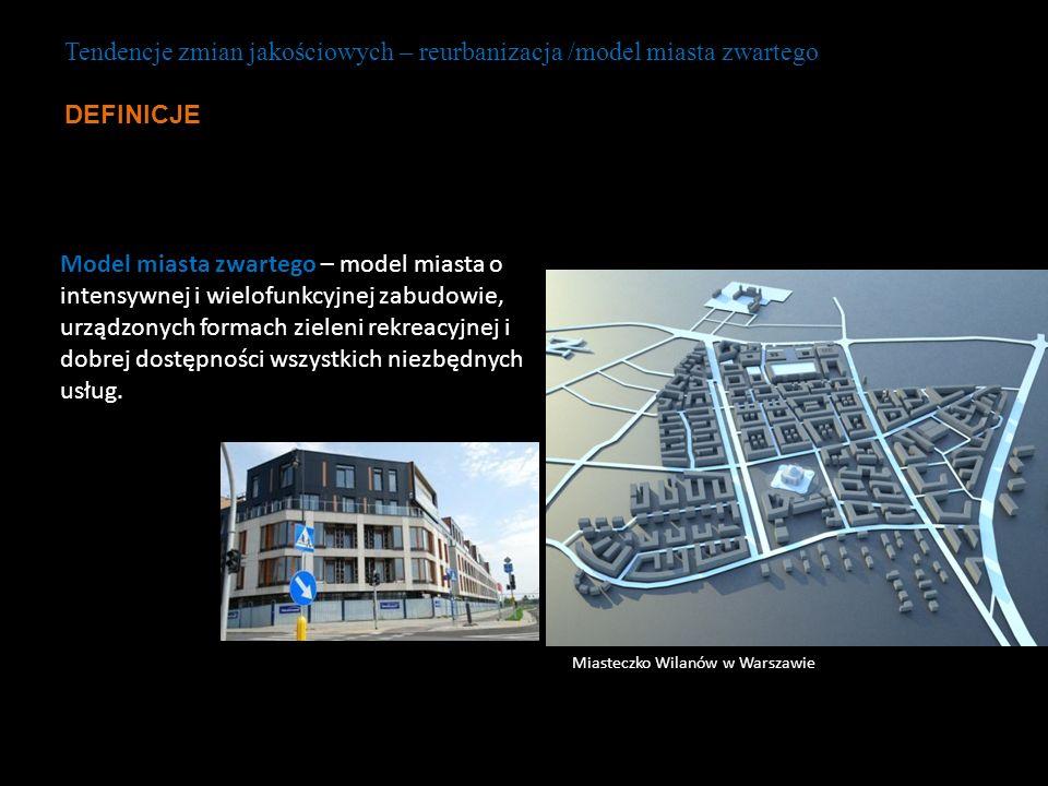 Tendencje zmian jakościowych – reurbanizacja /model miasta zwartego DEFINICJE