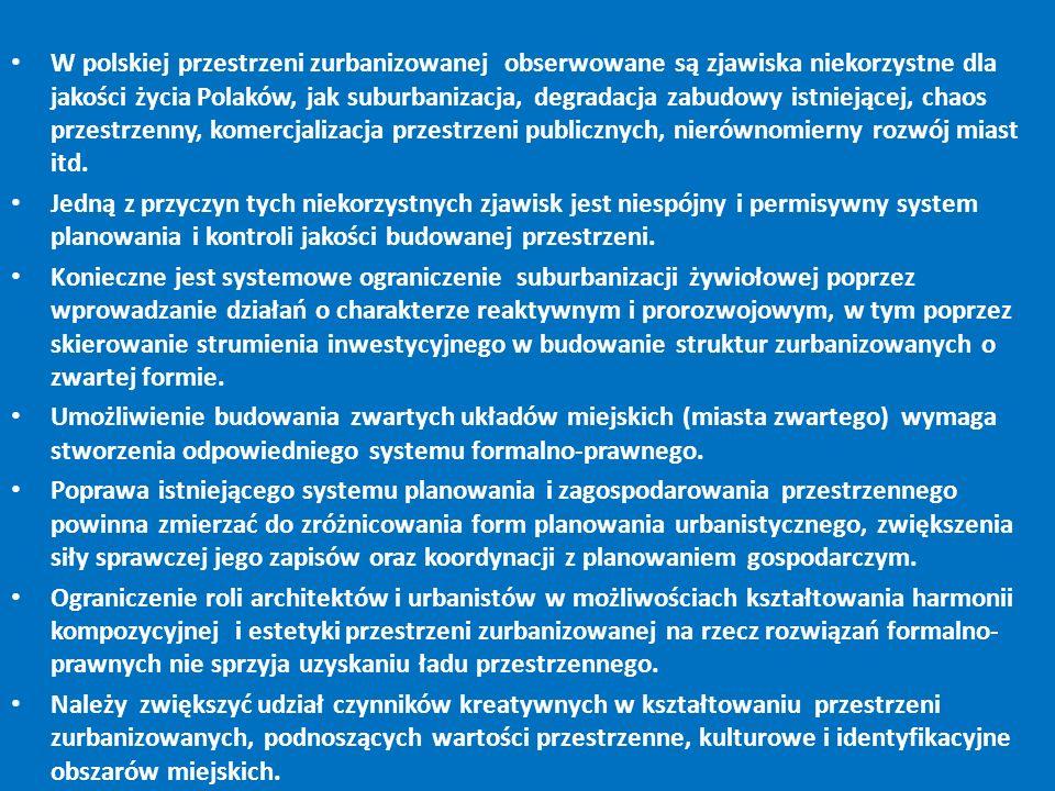 W polskiej przestrzeni zurbanizowanej obserwowane są zjawiska niekorzystne dla jakości życia Polaków, jak suburbanizacja, degradacja zabudowy istniejącej, chaos przestrzenny, komercjalizacja przestrzeni publicznych, nierównomierny rozwój miast itd.