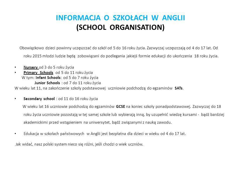 INFORMACJA O SZKOŁACH W ANGLII (SCHOOL ORGANISATION)