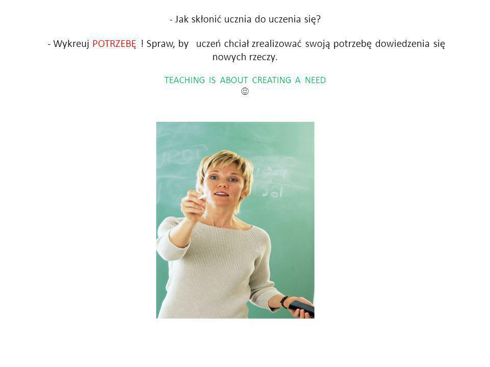 - Jak skłonić ucznia do uczenia się. - Wykreuj POTRZEBĘ
