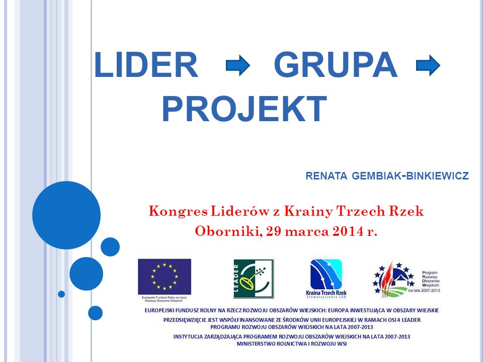 Kongres Liderów z Krainy Trzech Rzek Oborniki, 29 marca 2014 r.