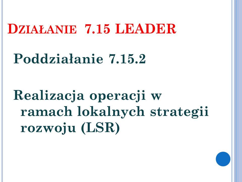 Działanie 7.15 LEADER Poddziałanie 7.15.2 Realizacja operacji w ramach lokalnych strategii rozwoju (LSR)