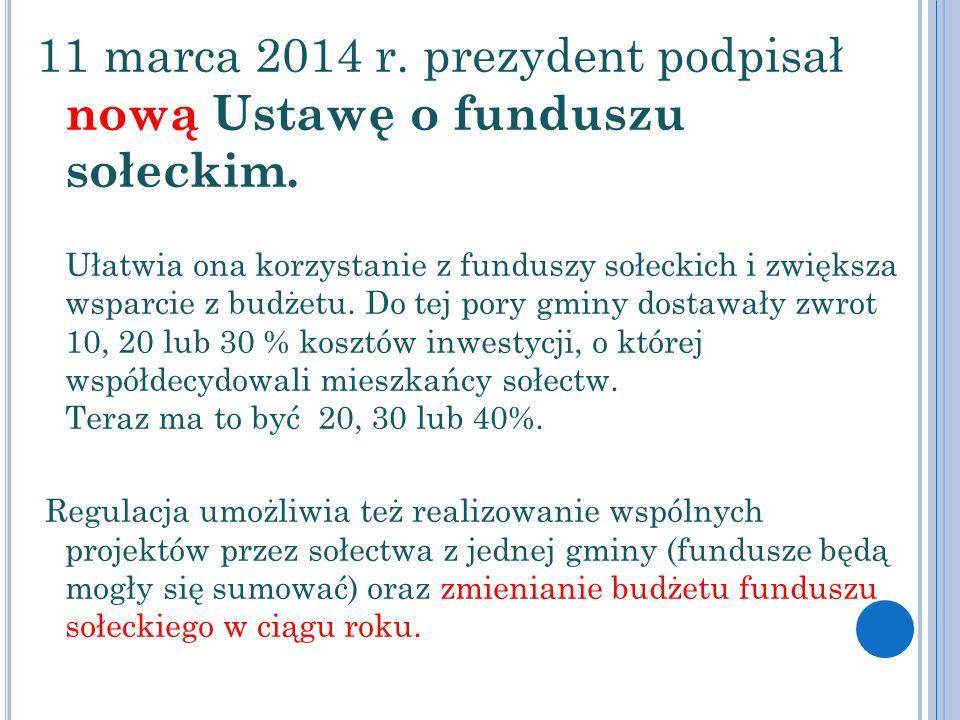 11 marca 2014 r. prezydent podpisał nową Ustawę o funduszu sołeckim.