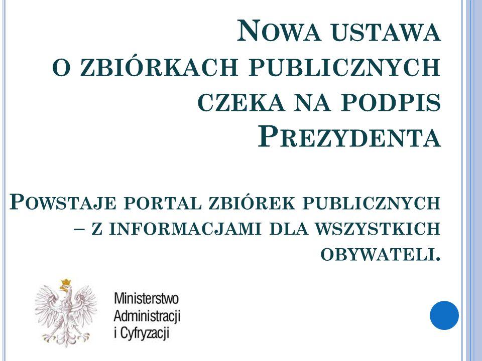 Nowa ustawa o zbiórkach publicznych czeka na podpis Prezydenta Powstaje portal zbiórek publicznych – z informacjami dla wszystkich obywateli.