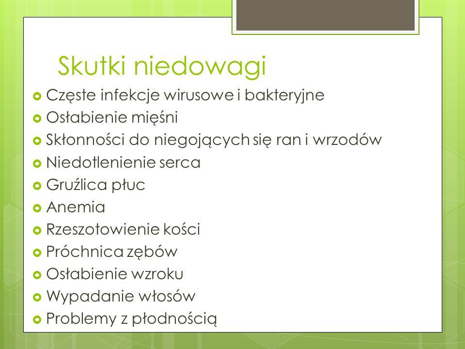 Skutki niedowagi Częste infekcje wirusowe i bakteryjne