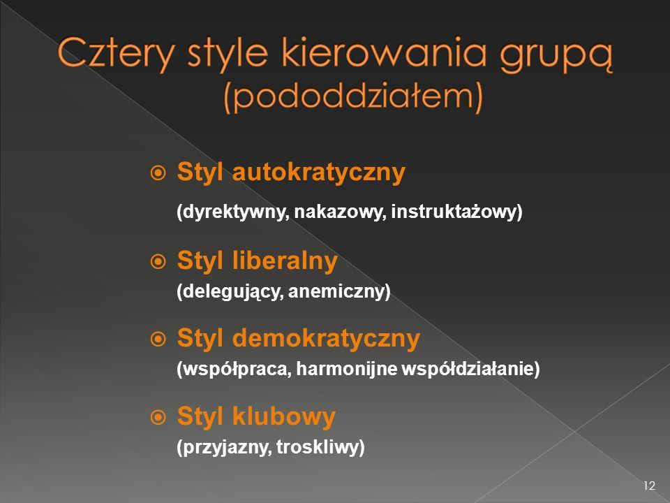 Cztery style kierowania grupą (pododdziałem)