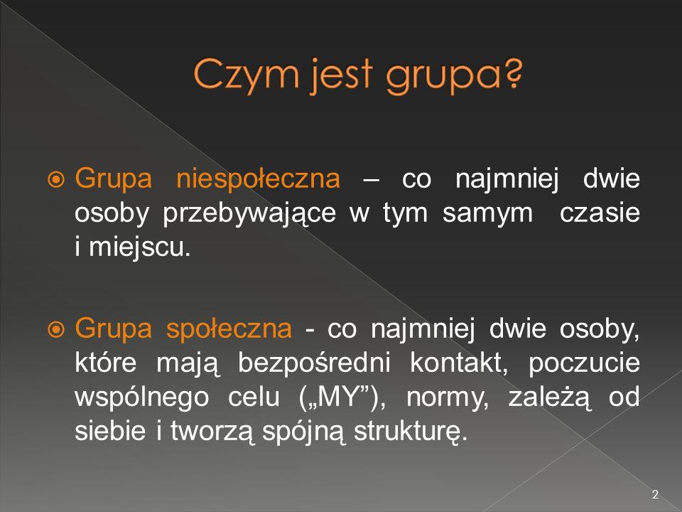 Czym jest grupa Grupa niespołeczna – co najmniej dwie osoby przebywające w tym samym czasie i miejscu.