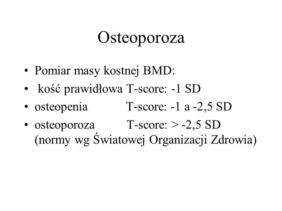Osteoporoza Pomiar masy kostnej BMD: kość prawidłowa T-score: -1 SD