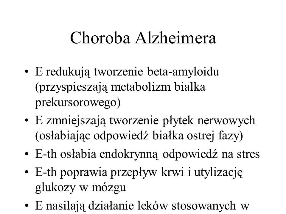 Choroba Alzheimera E redukują tworzenie beta-amyloidu (przyspieszają metabolizm bialka prekursorowego)