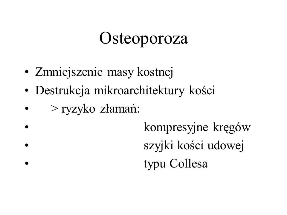 Osteoporoza Zmniejszenie masy kostnej