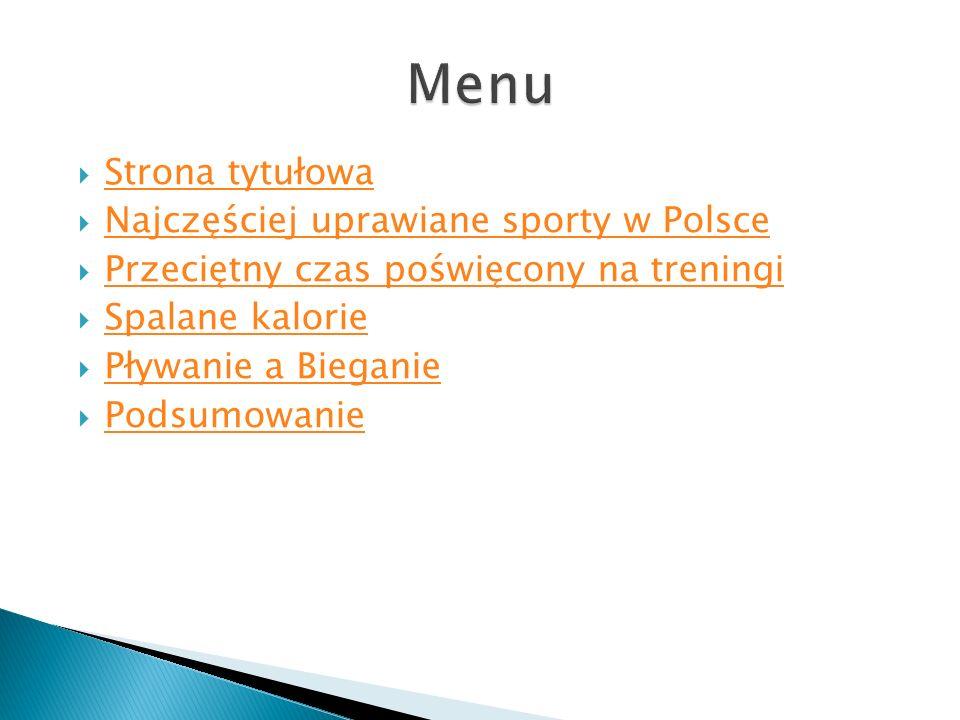 Menu Strona tytułowa Najczęściej uprawiane sporty w Polsce