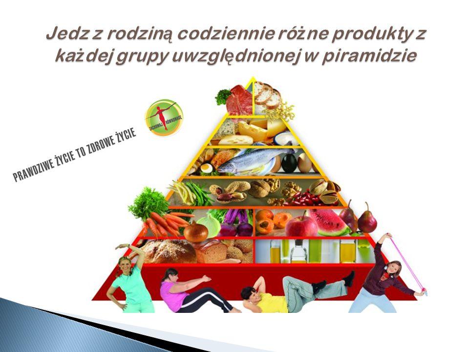 Jedz z rodziną codziennie różne produkty z każdej grupy uwzględnionej w piramidzie
