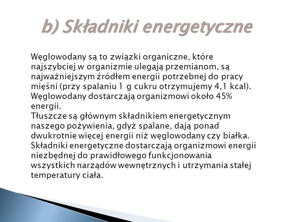 b) Składniki energetyczne