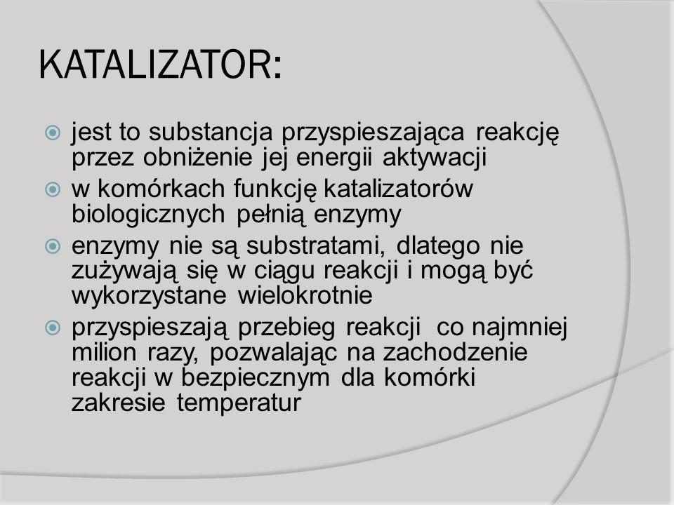 KATALIZATOR: jest to substancja przyspieszająca reakcję przez obniżenie jej energii aktywacji.