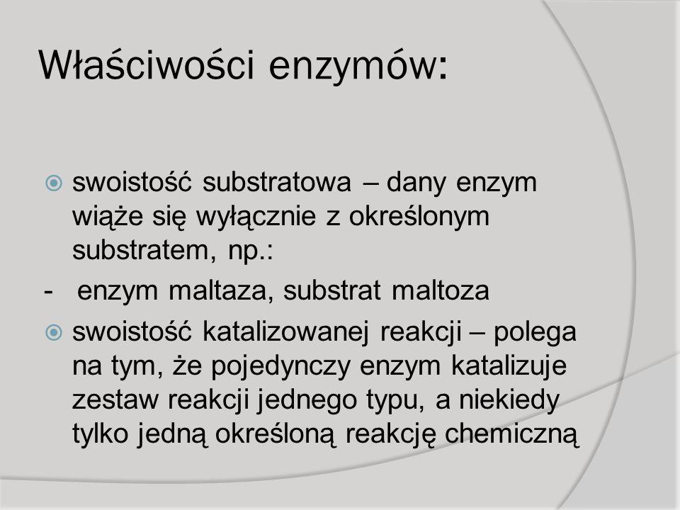 Właściwości enzymów: swoistość substratowa – dany enzym wiąże się wyłącznie z określonym substratem, np.: