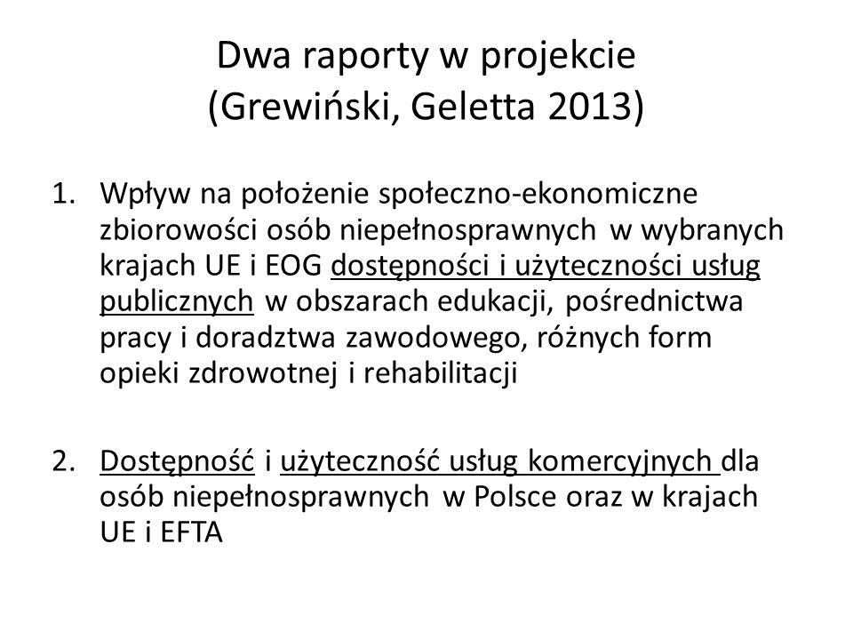 Dwa raporty w projekcie (Grewiński, Geletta 2013)