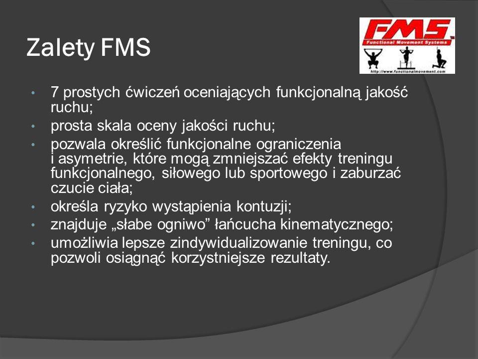 Zalety FMS 7 prostych ćwiczeń oceniających funkcjonalną jakość ruchu;