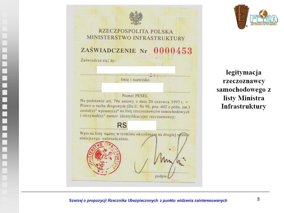 legitymacja rzeczoznawcy samochodowego z listy Ministra Infrastruktury
