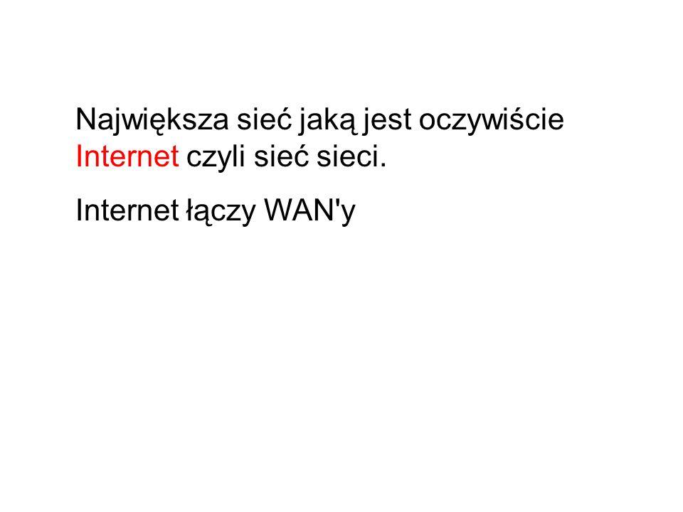 Największa sieć jaką jest oczywiście Internet czyli sieć sieci.