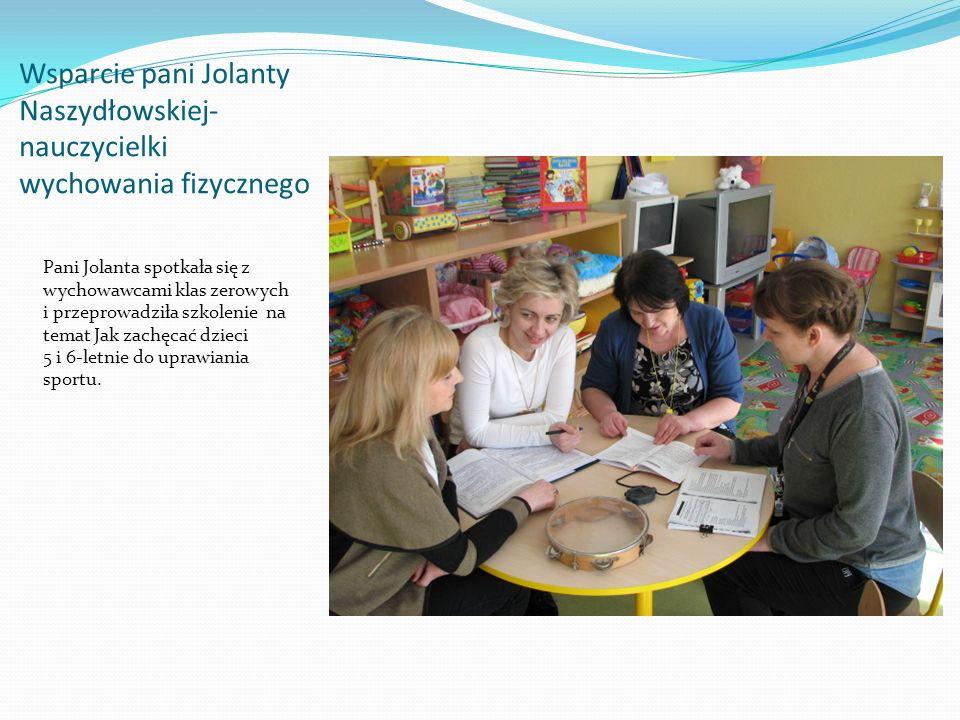 Wsparcie pani Jolanty Naszydłowskiej- nauczycielki wychowania fizycznego
