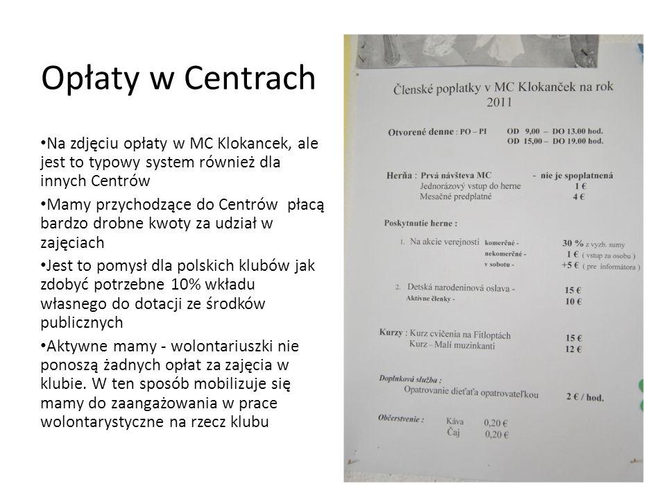 Opłaty w Centrach Na zdjęciu opłaty w MC Klokancek, ale jest to typowy system również dla innych Centrów.