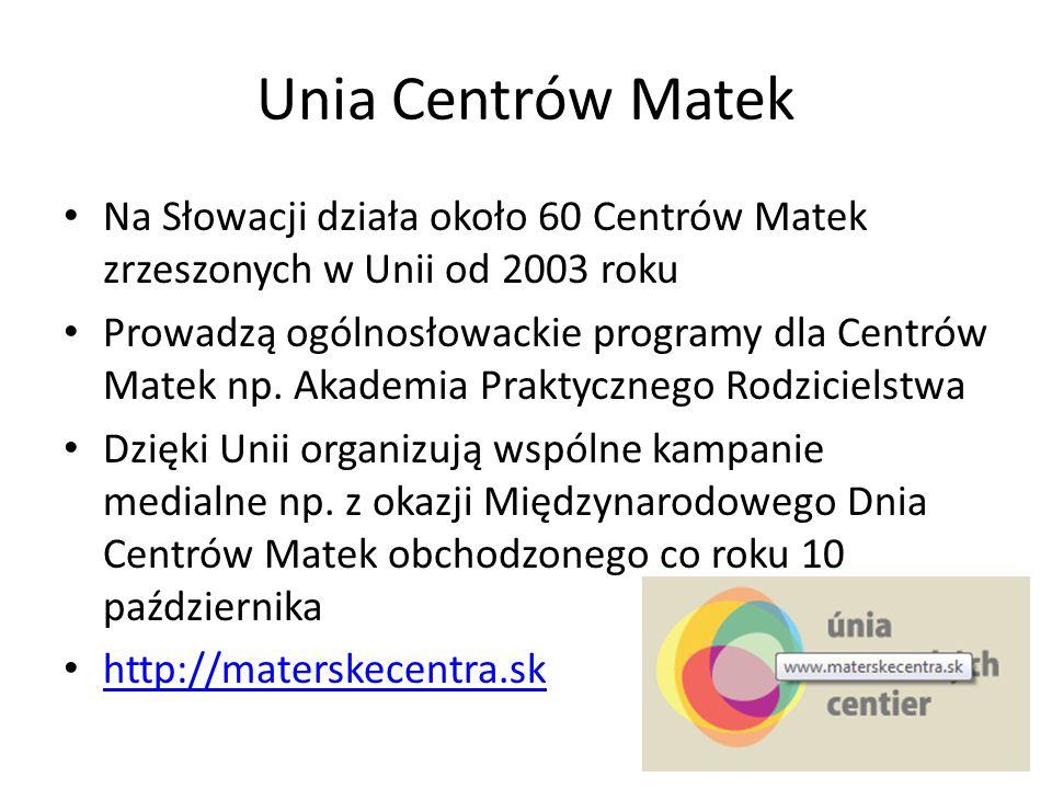 Unia Centrów Matek Na Słowacji działa około 60 Centrów Matek zrzeszonych w Unii od 2003 roku.