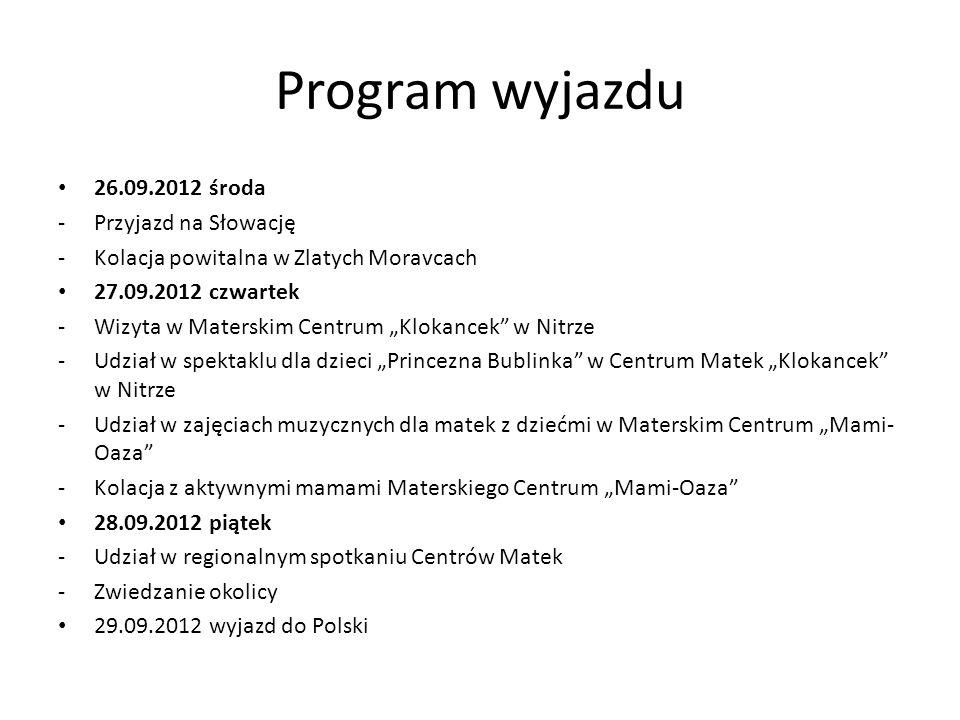 Program wyjazdu 26.09.2012 środa Przyjazd na Słowację
