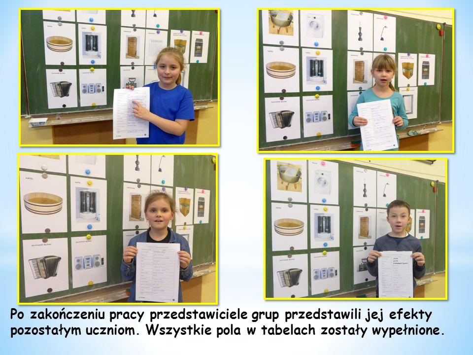 Po zakończeniu pracy przedstawiciele grup przedstawili jej efekty pozostałym uczniom.