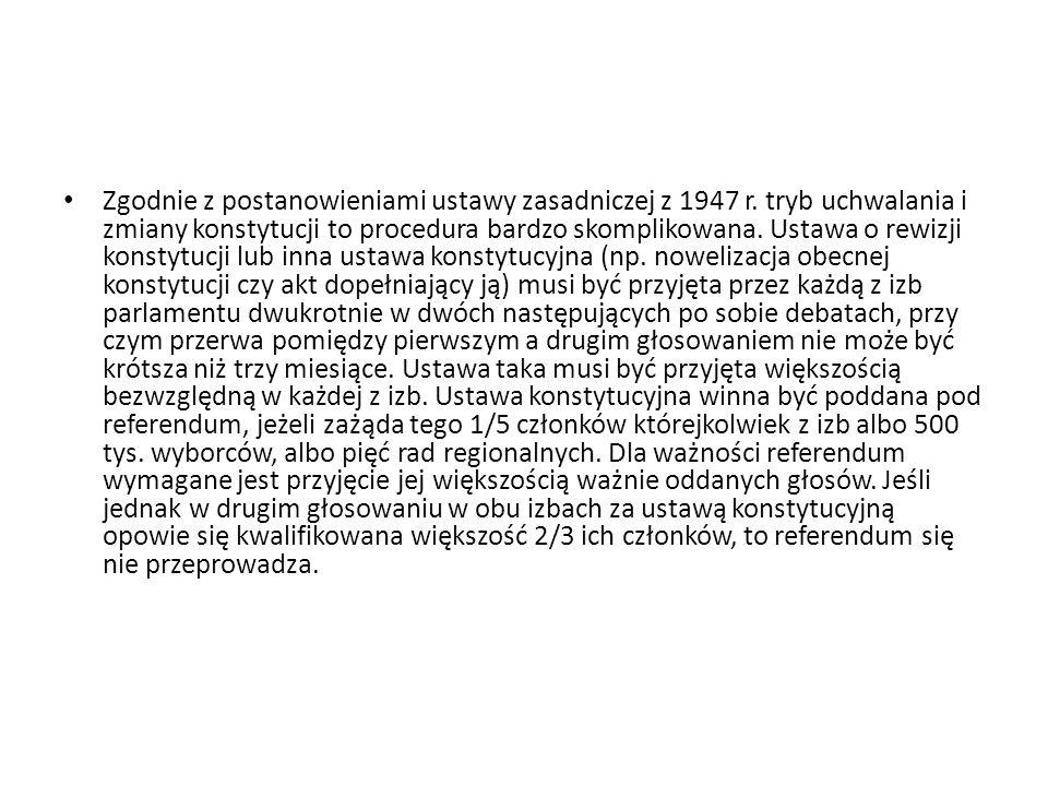 Zgodnie z postanowieniami ustawy zasadniczej z 1947 r