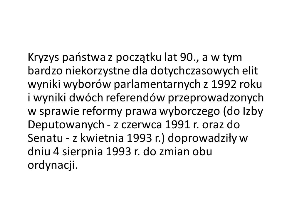 Kryzys państwa z początku lat 90
