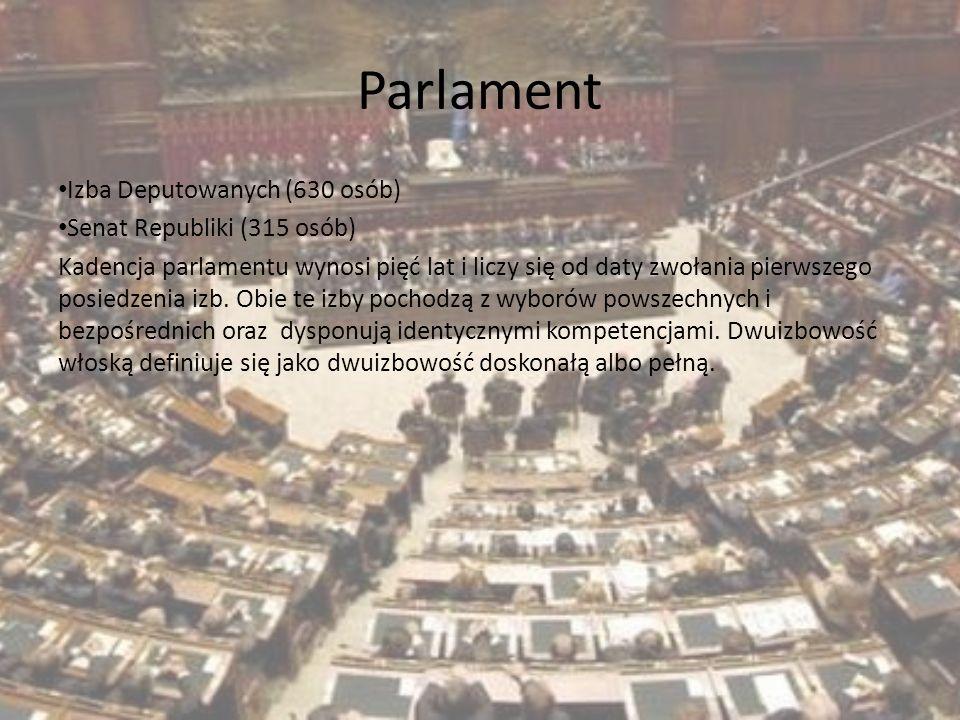 Parlament Izba Deputowanych (630 osób) Senat Republiki (315 osób)