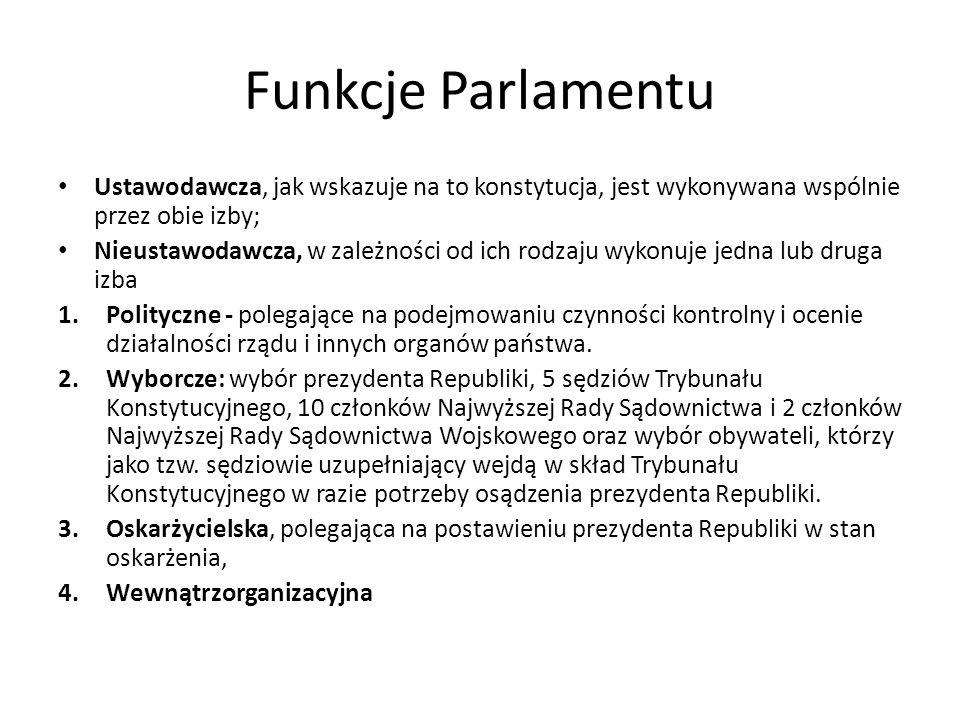 Funkcje Parlamentu Ustawodawcza, jak wskazuje na to konstytucja, jest wykonywana wspólnie przez obie izby;