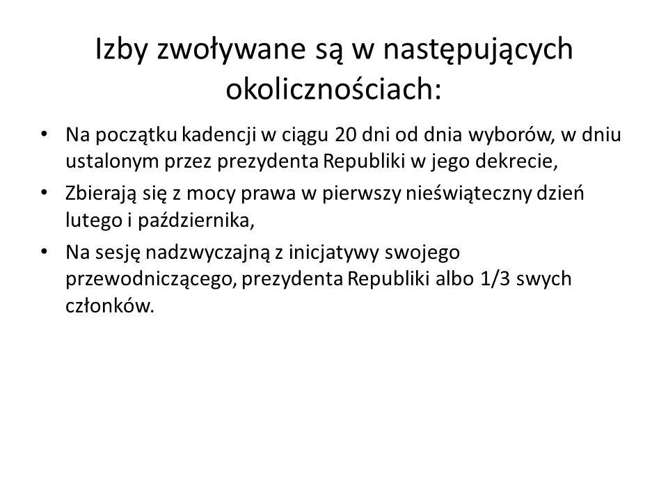 Izby zwoływane są w następujących okolicznościach:
