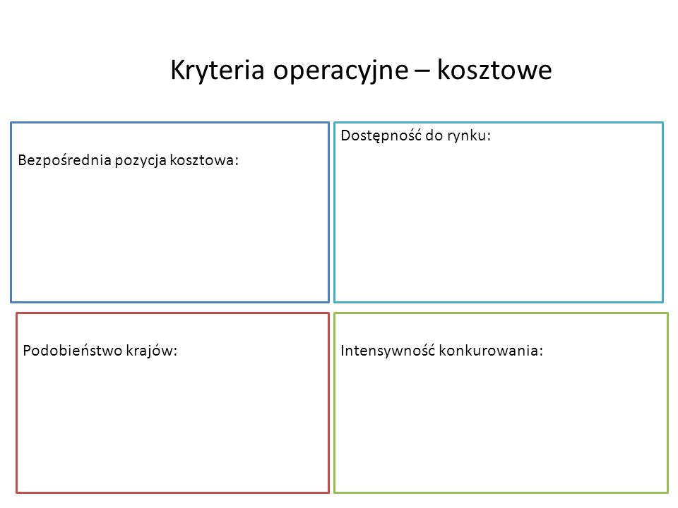 Kryteria operacyjne – kosztowe