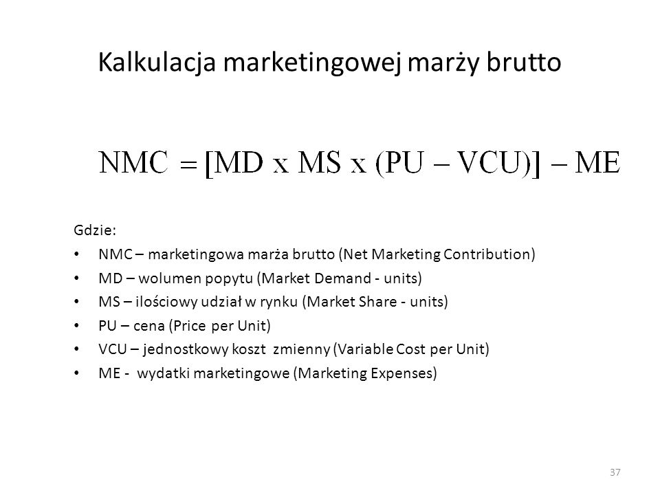Kalkulacja marketingowej marży brutto