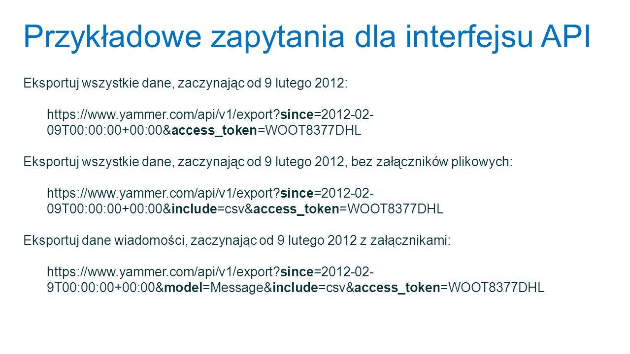 Przykładowe zapytania dla interfejsu API