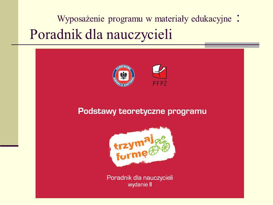 Wyposażenie programu w materiały edukacyjne : Poradnik dla nauczycieli